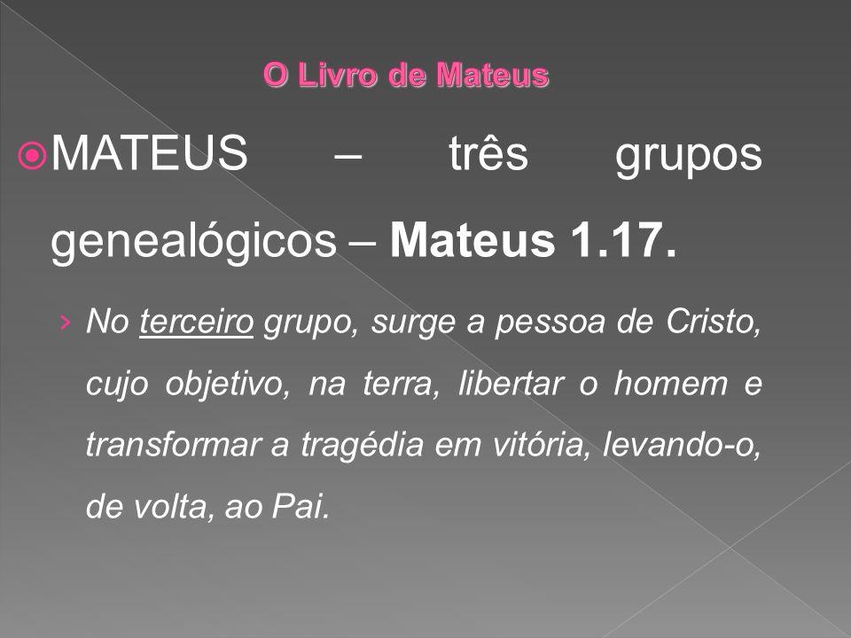 MATEUS – três grupos genealógicos – Mateus 1.17. No terceiro grupo, surge a pessoa de Cristo, cujo objetivo, na terra, libertar o homem e transformar