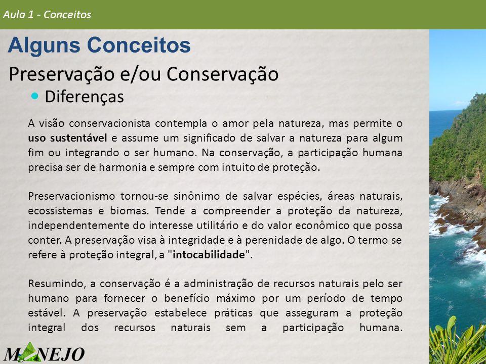 Preservação e/ou Conservação Diferenças Alguns Conceitos Aula 1 - Conceitos A visão conservacionista contempla o amor pela natureza, mas permite o uso