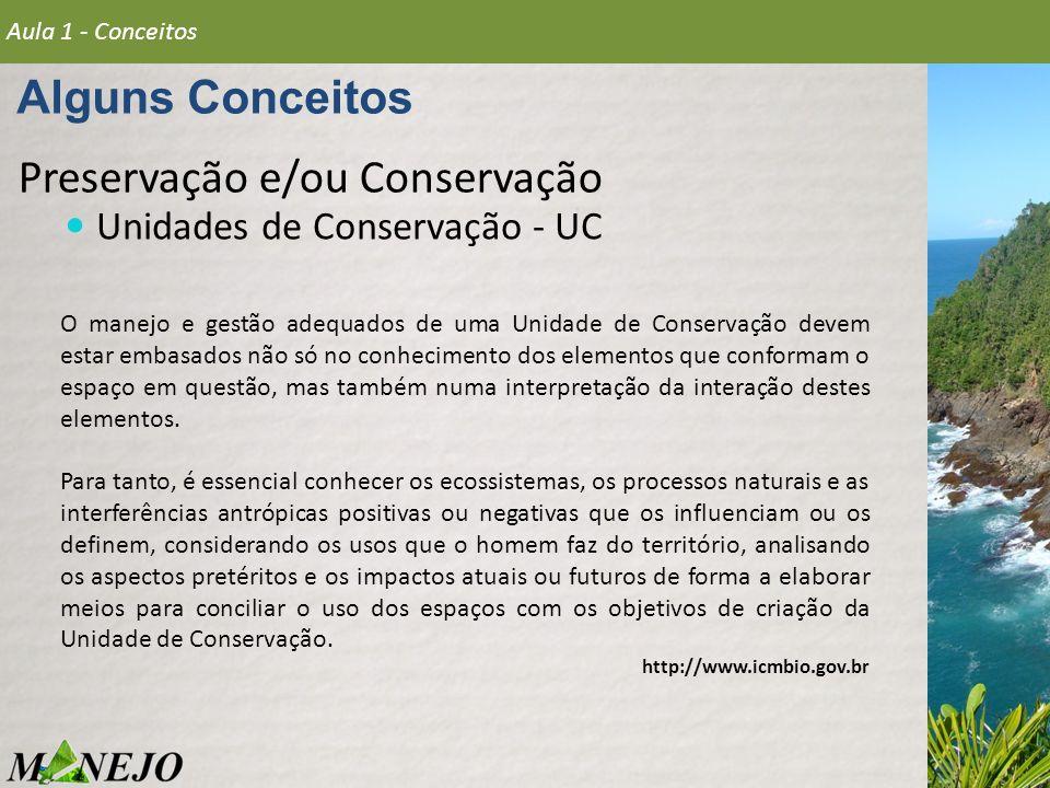 Preservação e/ou Conservação Unidades de Conservação - UC Alguns Conceitos Aula 1 - Conceitos O manejo e gestão adequados de uma Unidade de Conservaçã