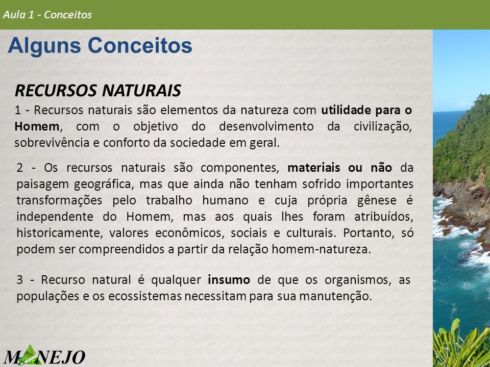 Alguns Conceitos Aula 1 - Conceitos RECURSOS NATURAIS 1 - Recursos naturais são elementos da natureza com utilidade para o Homem, com o objetivo do de