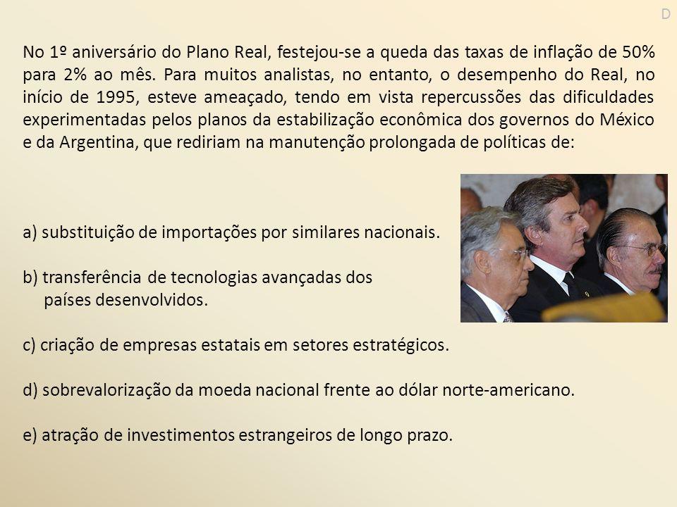 No 1º aniversário do Plano Real, festejou-se a queda das taxas de inflação de 50% para 2% ao mês. Para muitos analistas, no entanto, o desempenho do R