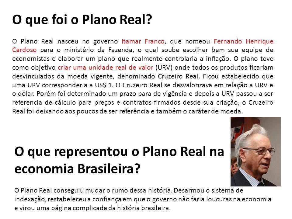 O que foi o Plano Real? O Plano Real nasceu no governo Itamar Franco, que nomeou Fernando Henrique Cardoso para o ministério da Fazenda, o qual soube