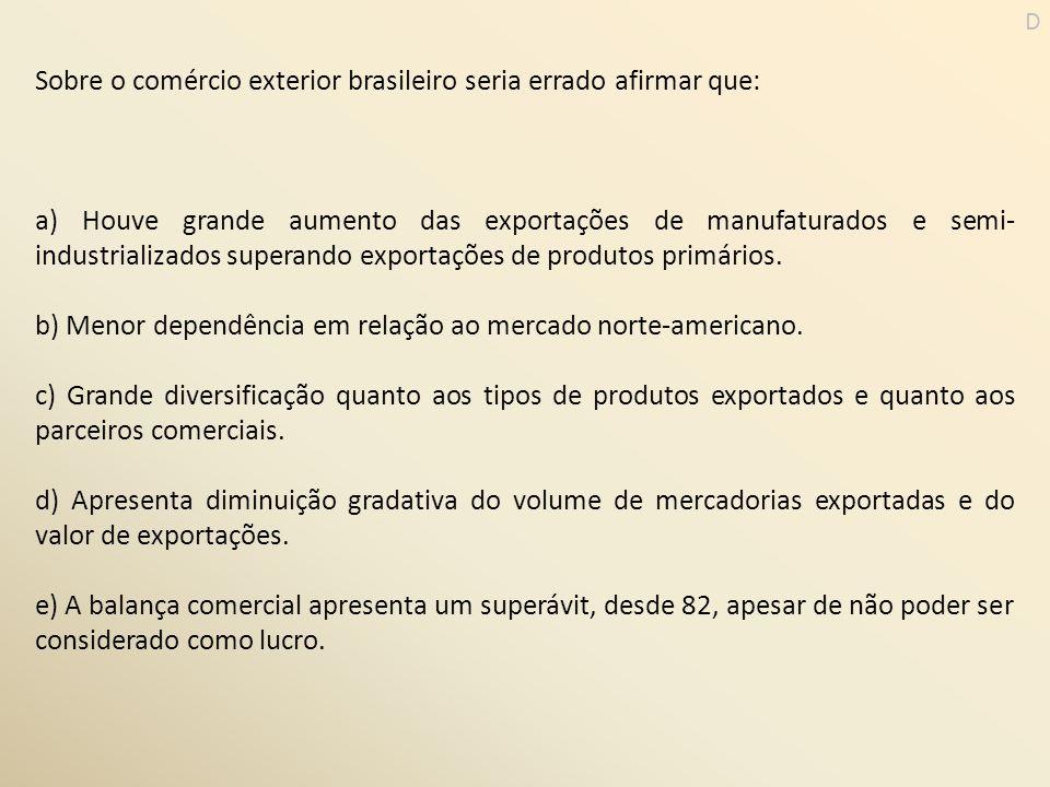 Sobre o comércio exterior brasileiro seria errado afirmar que: a) Houve grande aumento das exportações de manufaturados e semi- industrializados super