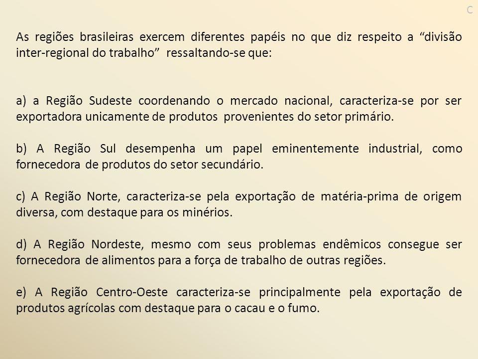As regiões brasileiras exercem diferentes papéis no que diz respeito a divisão inter-regional do trabalho ressaltando-se que: a) a Região Sudeste coor