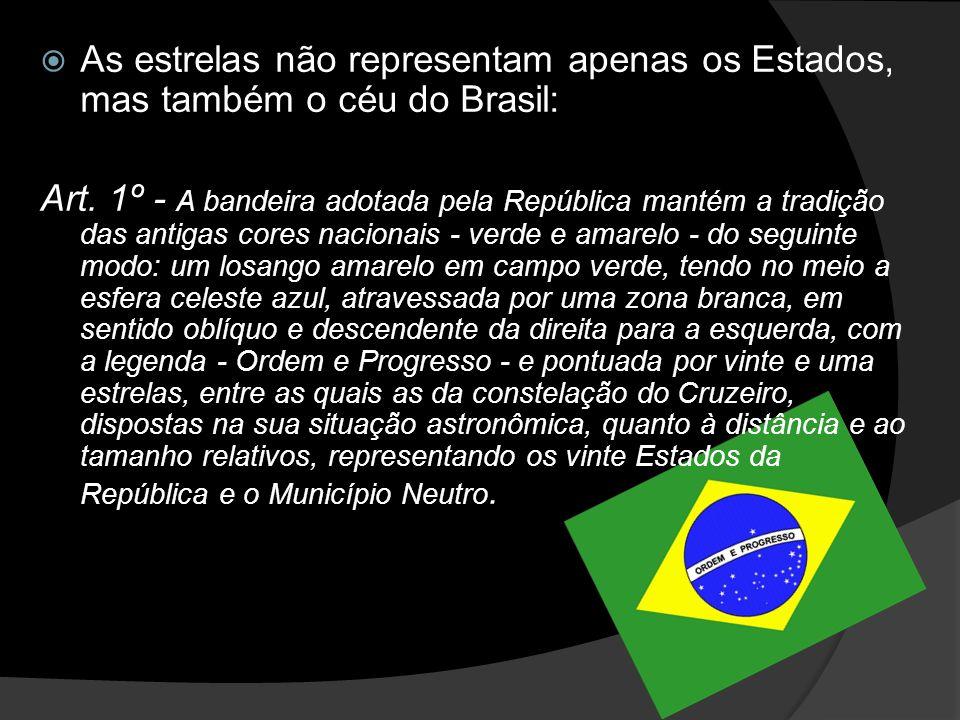 As estrelas não representam apenas os Estados, mas também o céu do Brasil: Art.