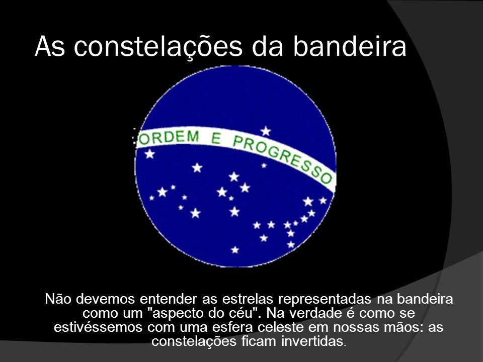 As constelações da bandeira Não devemos entender as estrelas representadas na bandeira como um aspecto do céu .