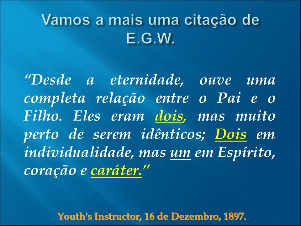 Youth's Instructor, 16 de Dezembro, 1897. Desde a eternidade, ouve uma completa relação entre o Pai e o Filho. Eles eram dois, mas muito perto de sere