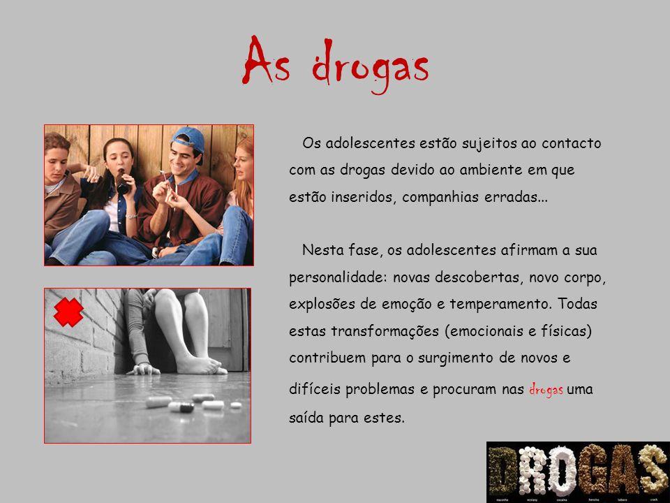 As drogas Os adolescentes estão sujeitos ao contacto com as drogas devido ao ambiente em que estão inseridos, companhias erradas... Nesta fase, os ado