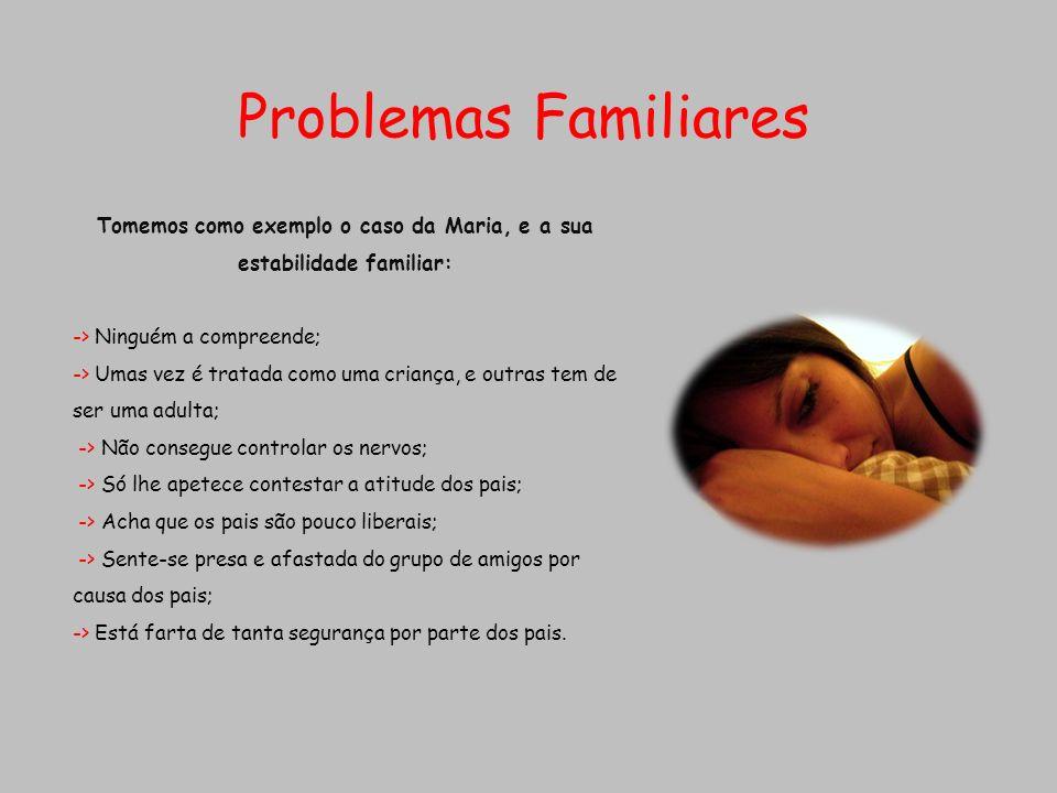 Problemas Familiares Tomemos como exemplo o caso da Maria, e a sua estabilidade familiar: -> Ninguém a compreende; -> Umas vez é tratada como uma cria