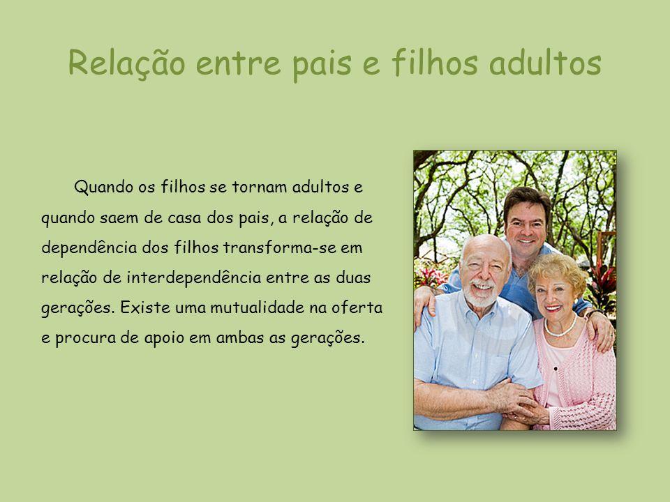 Relação entre pais e filhos adultos Quando os filhos se tornam adultos e quando saem de casa dos pais, a relação de dependência dos filhos transforma-