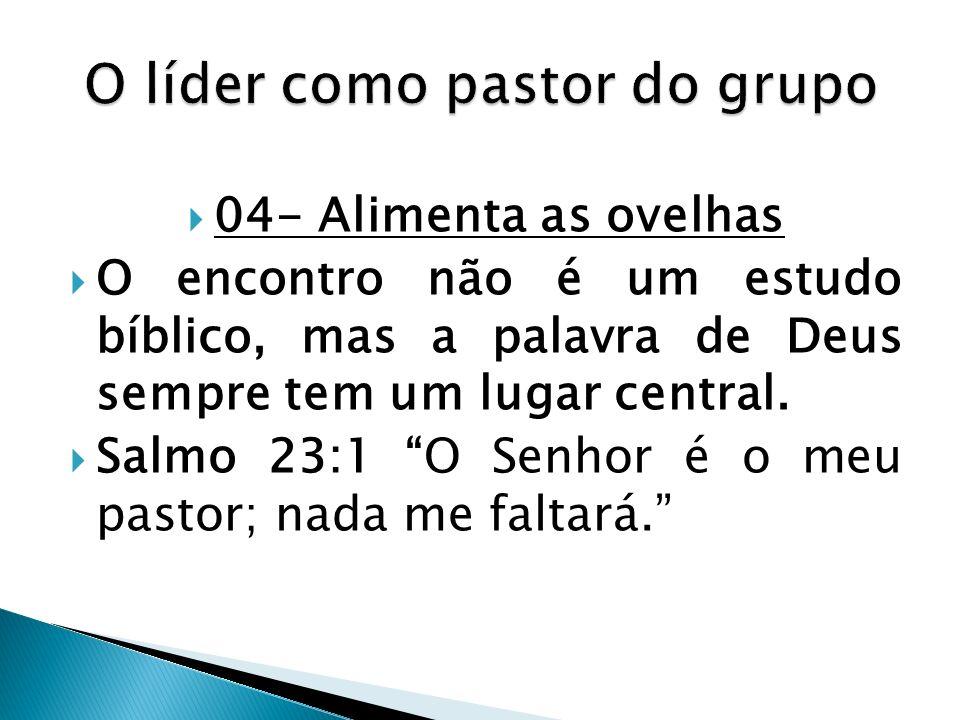04- Alimenta as ovelhas O encontro não é um estudo bíblico, mas a palavra de Deus sempre tem um lugar central. Salmo 23:1 O Senhor é o meu pastor; nad