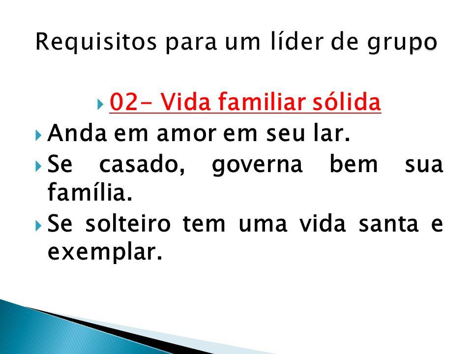 02- Vida familiar sólida Anda em amor em seu lar. Se casado, governa bem sua família. Se solteiro tem uma vida santa e exemplar.