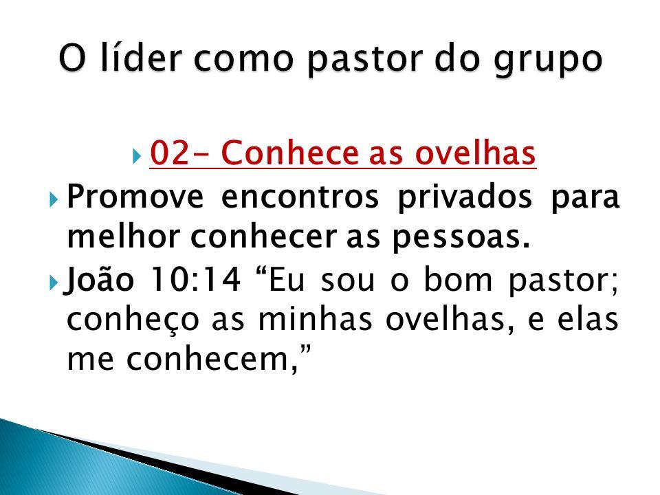 02- Conhece as ovelhas Promove encontros privados para melhor conhecer as pessoas. João 10:14 Eu sou o bom pastor; conheço as minhas ovelhas, e elas m