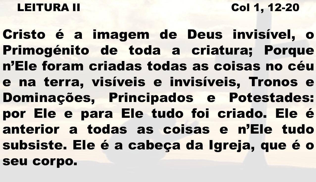 LEITURA II Col 1, 12-20 Ele é o Princípio, o Primogénito de entre os mortos; em tudo Ele tem o primeiro lugar.
