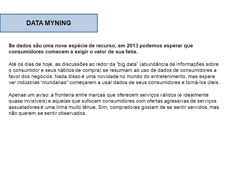 Se dados são uma nova espécie de recurso, em 2013 podemos esperar que consumidores comecem a exigir o valor de sua fatia. Até os dias de hoje, as disc