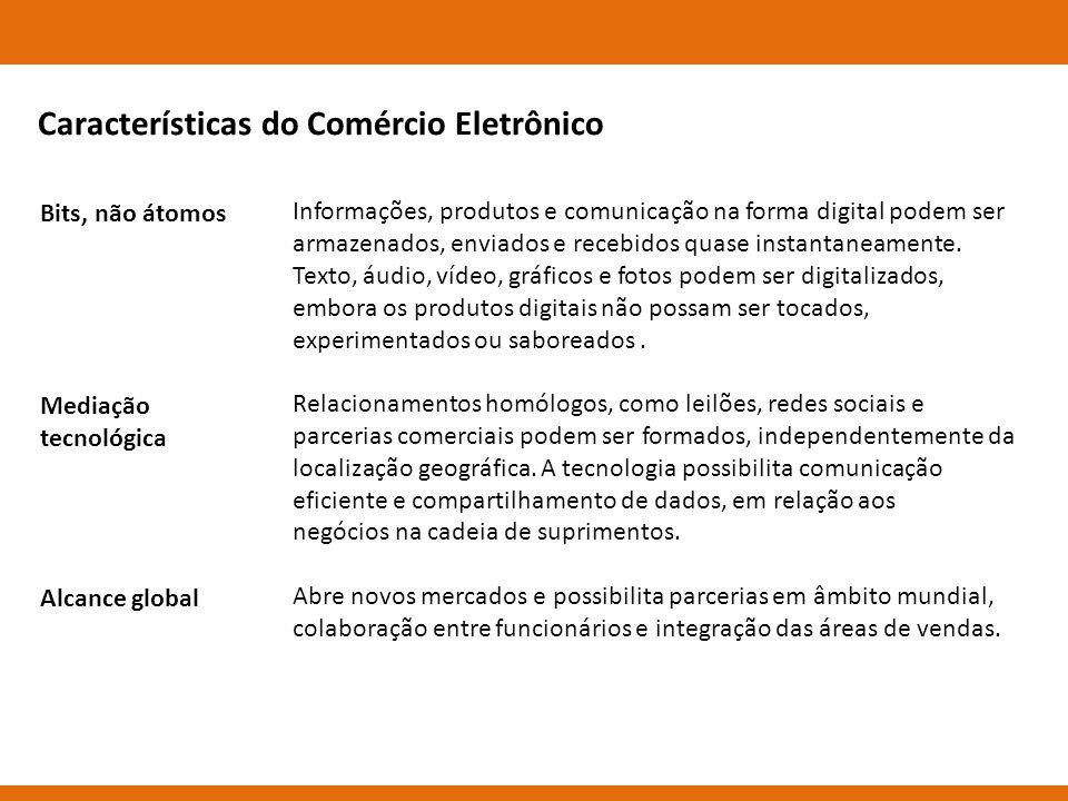 Bits, não átomos Mediação tecnológica Alcance global Informações, produtos e comunicação na forma digital podem ser armazenados, enviados e recebidos