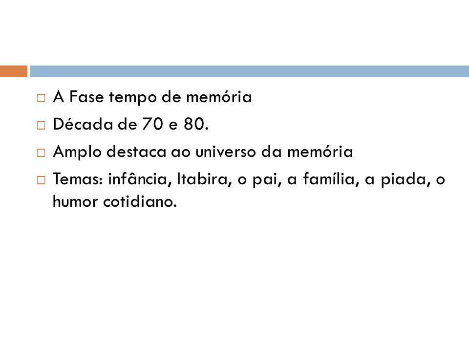 A Fase tempo de memória Década de 70 e 80.