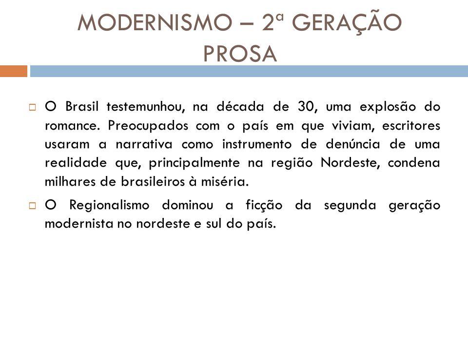 MODERNISMO – 2ª GERAÇÃO PROSA O Brasil testemunhou, na década de 30, uma explosão do romance.