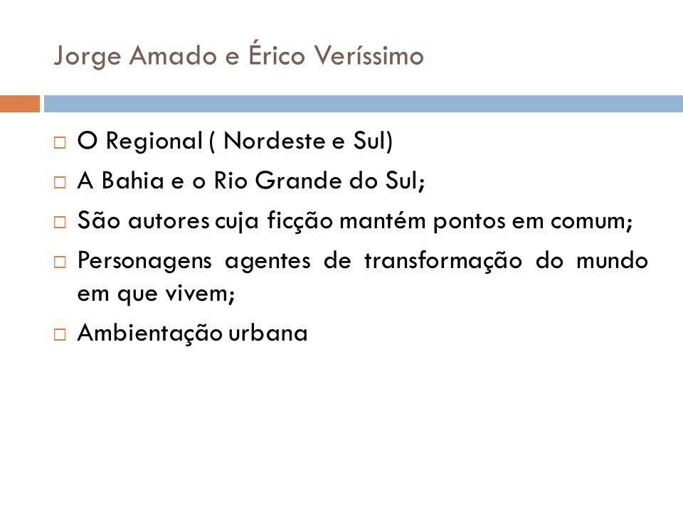 Jorge Amado e Érico Veríssimo O Regional ( Nordeste e Sul) A Bahia e o Rio Grande do Sul; São autores cuja ficção mantém pontos em comum; Personagens agentes de transformação do mundo em que vivem; Ambientação urbana