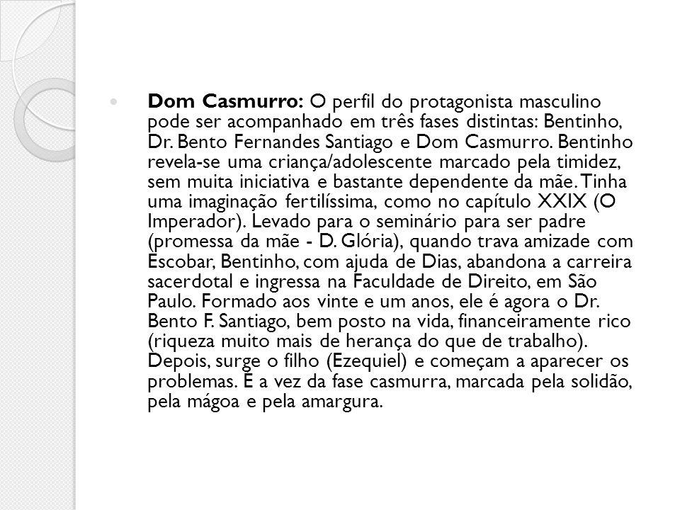 Dom Casmurro: O perfil do protagonista masculino pode ser acompanhado em três fases distintas: Bentinho, Dr. Bento Fernandes Santiago e Dom Casmurro.
