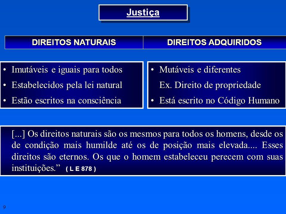 9 DIREITOS NATURAIS DIREITOS ADQUIRIDOS Imutáveis e iguais para todosImutáveis e iguais para todos Estabelecidos pela lei naturalEstabelecidos pela le