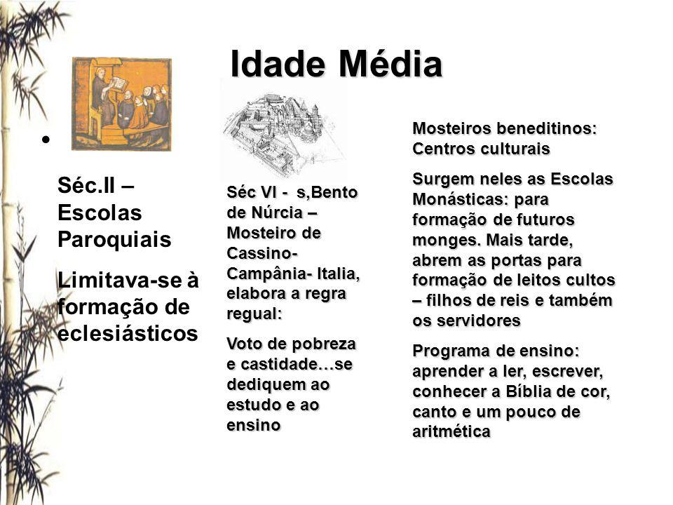 Idade Média Séc.II – Escolas Paroquiais Limitava-se à formação de eclesiásticos Séc VI - s,Bento de Núrcia – Mosteiro de Cassino- Campânia- Italia, el