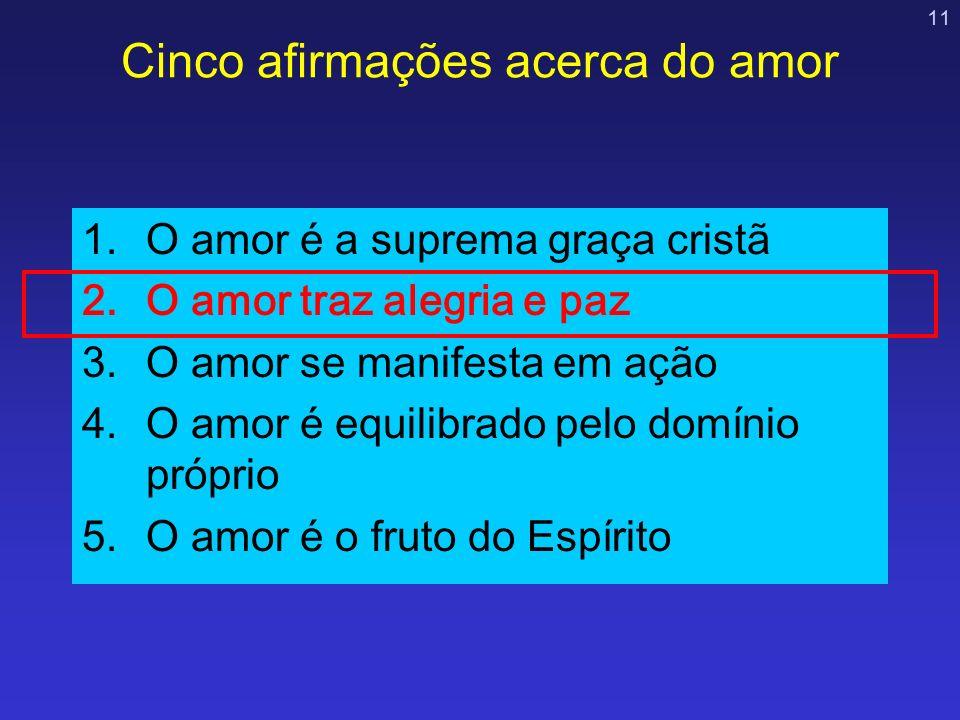 11 Cinco afirmações acerca do amor 1.O amor é a suprema graça cristã 2.O amor traz alegria e paz 3.O amor se manifesta em ação 4.O amor é equilibrado