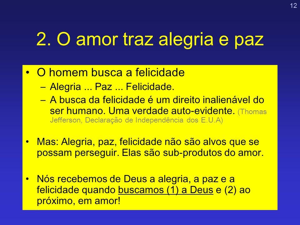 12 2. O amor traz alegria e paz O homem busca a felicidade –Alegria... Paz... Felicidade. –A busca da felicidade é um direito inalienável do ser human