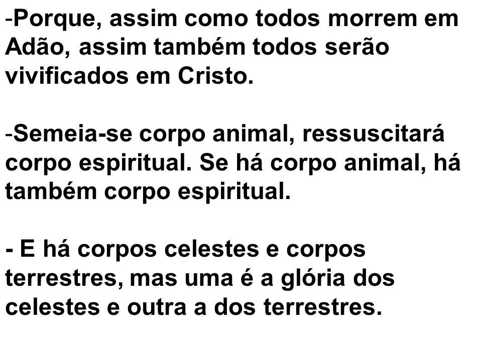 -P-Porque, assim como todos morrem em Adão, assim também todos serão vivificados em Cristo. -S-Semeia-se corpo animal, ressuscitará corpo espiritual.