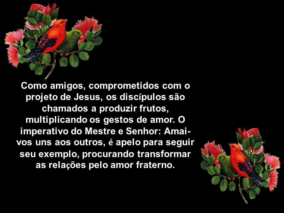 Como amigos, comprometidos com o projeto de Jesus, os disc í pulos são chamados a produzir frutos, multiplicando os gestos de amor.