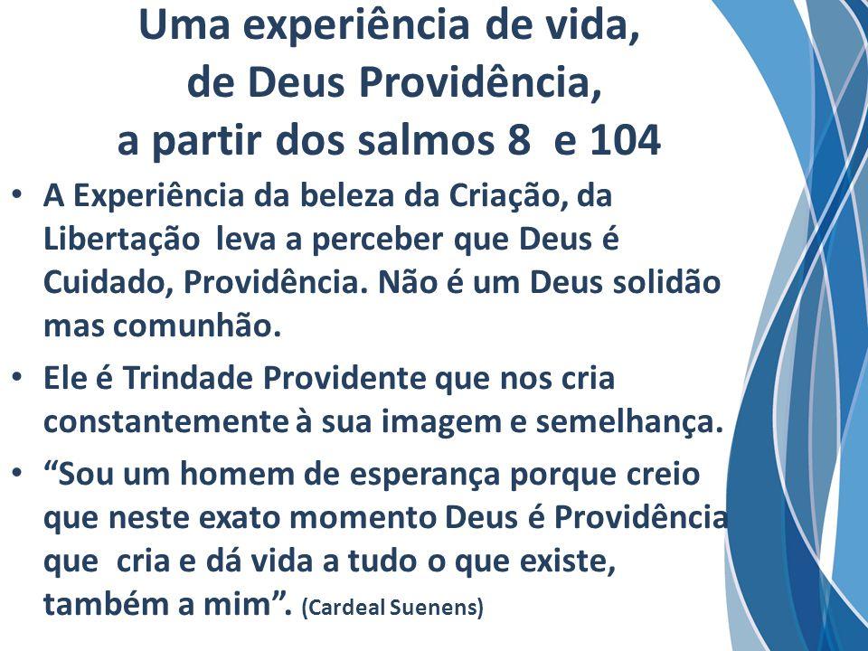 Uma experiência de vida, de Deus Providência, a partir dos salmos 8 e 104 A Experiência da beleza da Criação, da Libertação leva a perceber que Deus é