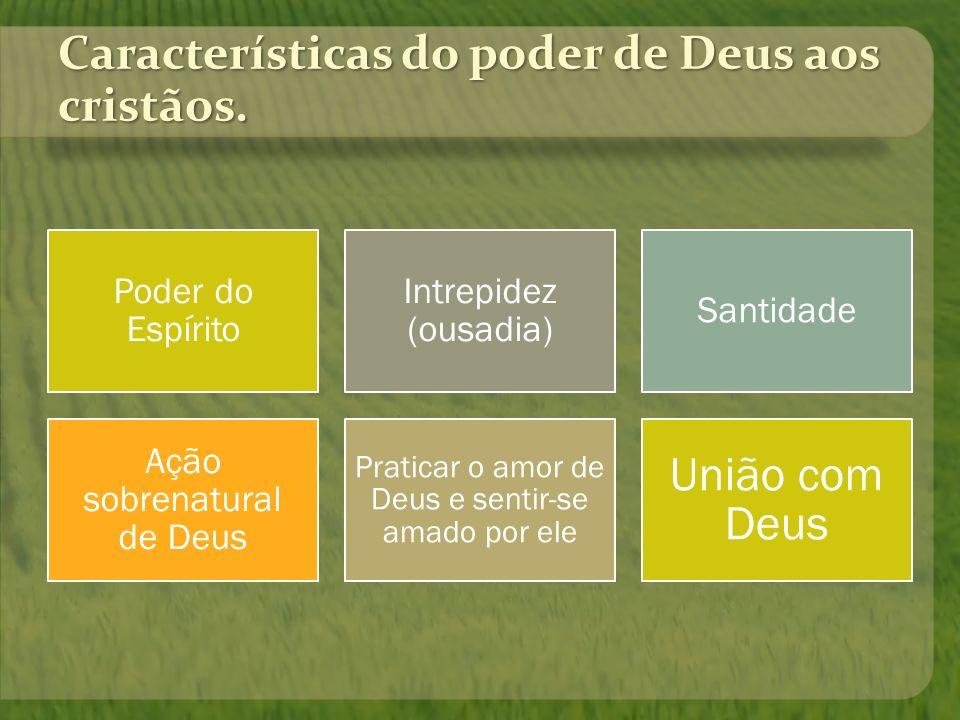 Características do poder de Deus aos cristãos. Poder do Espírito Intrepidez (ousadia) Santidade Ação sobrenatural de Deus Praticar o amor de Deus e se