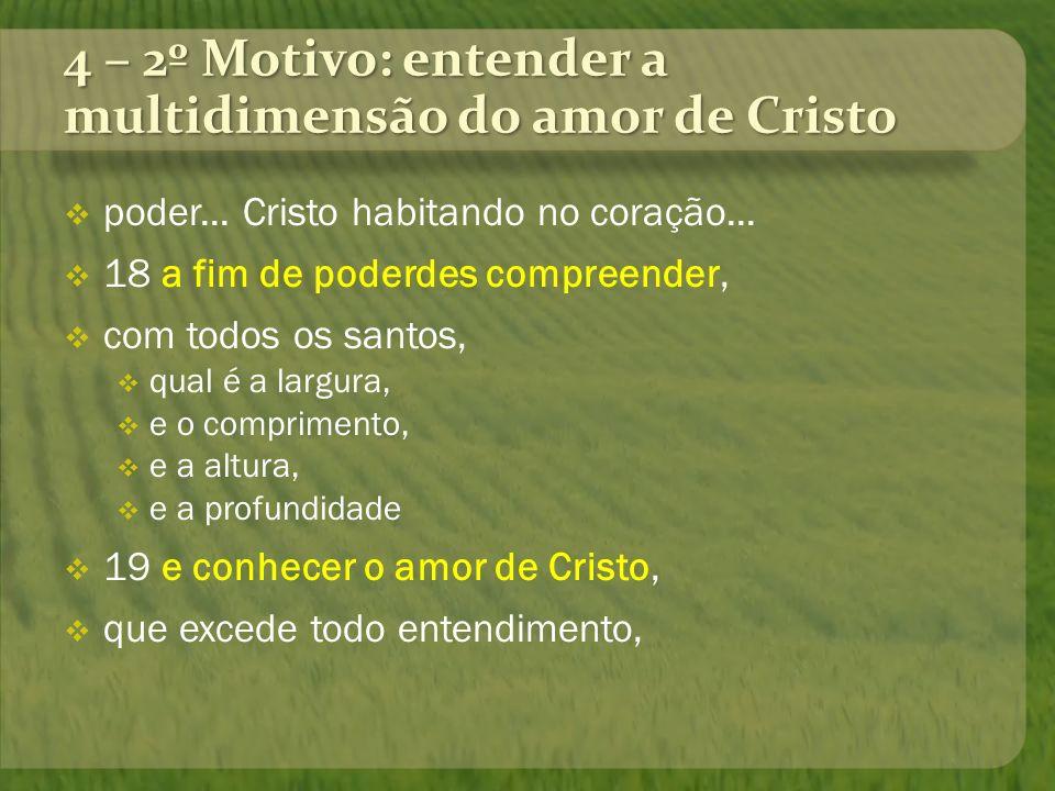 4 – 2º Motivo: entender a multidimensão do amor de Cristo poder... Cristo habitando no coração... 18 a fim de poderdes compreender, com todos os santo
