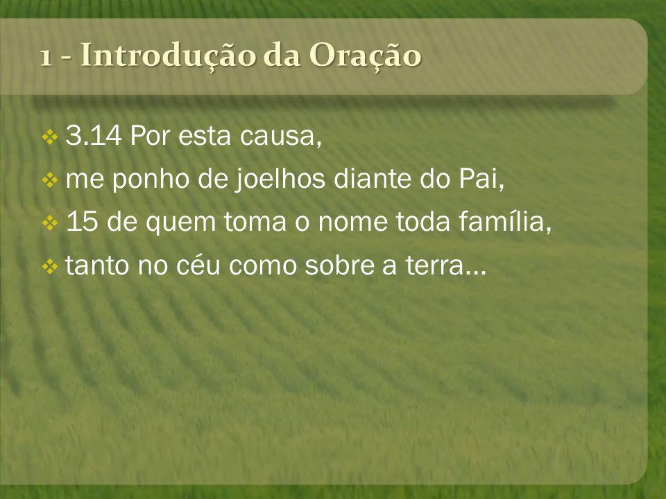 1 - Introdução da Oração 3.14 Por esta causa, me ponho de joelhos diante do Pai, 15 de quem toma o nome toda família, tanto no céu como sobre a terra.