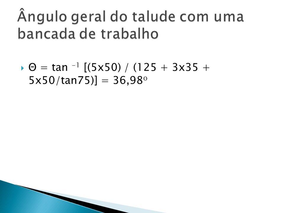 Θ = tan -1 [(5x50) / (125 + 3x35 + 5x50/tan75)] = 36,98 o