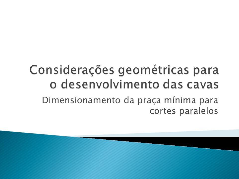 Dimensionamento da praça mínima para cortes paralelos