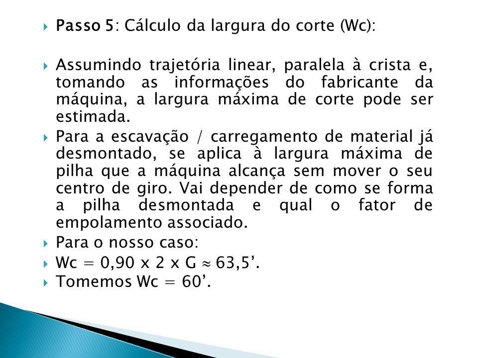 Passo 5: Cálculo da largura do corte (Wc): Assumindo trajetória linear, paralela à crista e, tomando as informações do fabricante da máquina, a largur