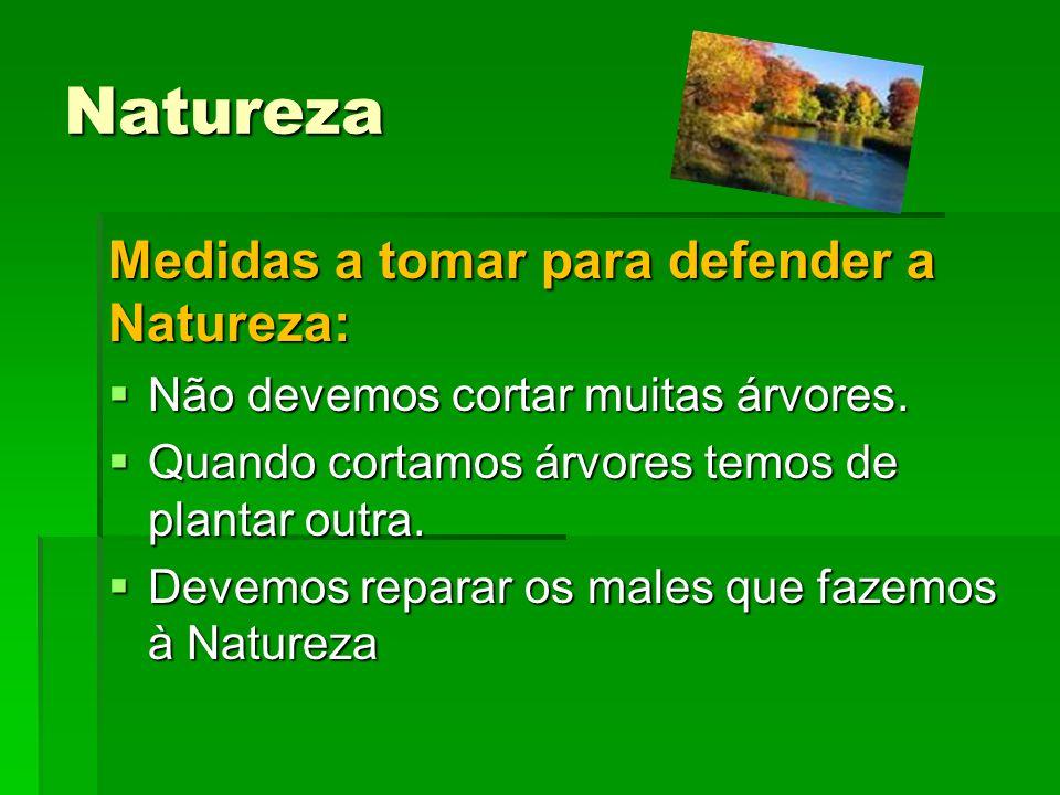 Natureza Medidas a tomar para defender a Natureza: Não devemos cortar muitas árvores. Não devemos cortar muitas árvores. Quando cortamos árvores temos