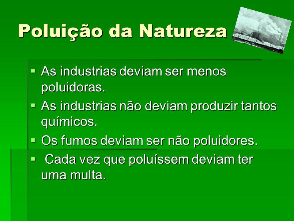 Poluição da Natureza As industrias deviam ser menos poluidoras. As industrias deviam ser menos poluidoras. As industrias não deviam produzir tantos qu