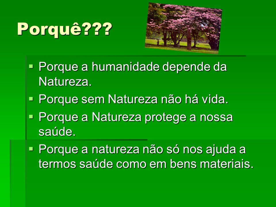 Porquê??? Porque a humanidade depende da Natureza. Porque a humanidade depende da Natureza. Porque sem Natureza não há vida. Porque sem Natureza não h