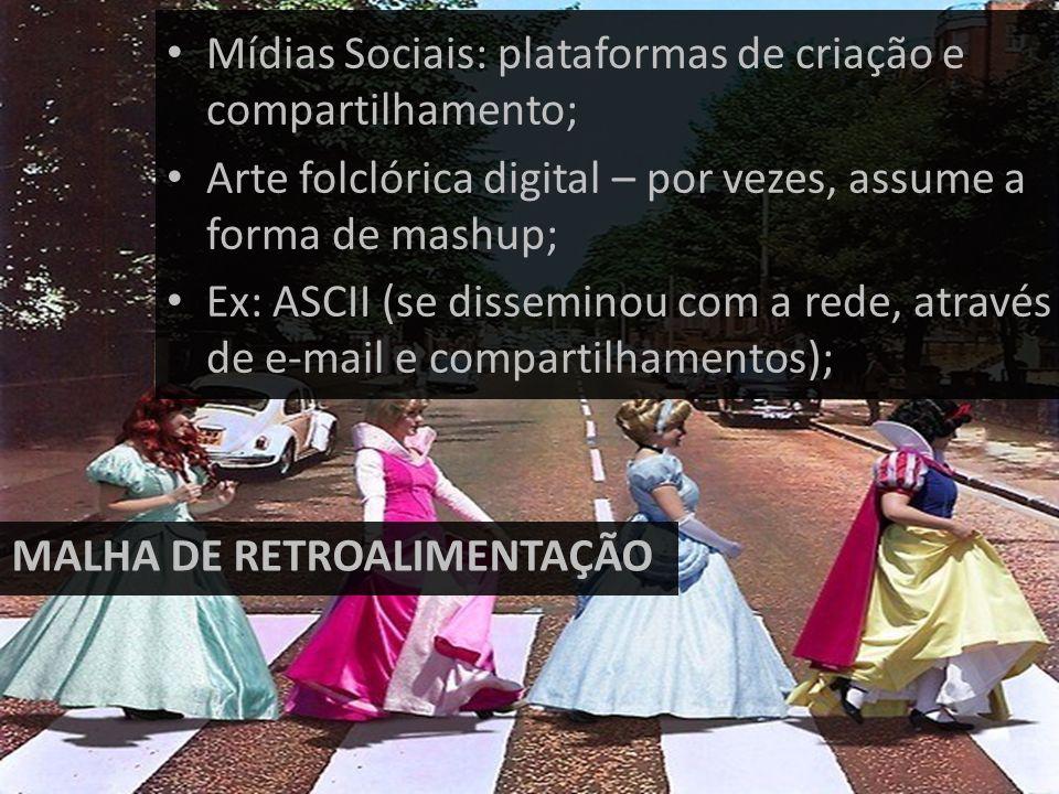 Mídias Sociais: plataformas de criação e compartilhamento; Arte folclórica digital – por vezes, assume a forma de mashup; Ex: ASCII (se disseminou com