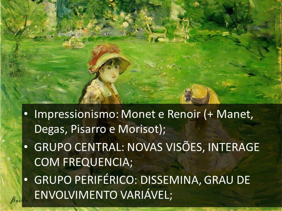 Impressionismo: Monet e Renoir (+ Manet, Degas, Pisarro e Morisot); GRUPO CENTRAL: NOVAS VISÕES, INTERAGE COM FREQUENCIA; GRUPO PERIFÉRICO: DISSEMINA,