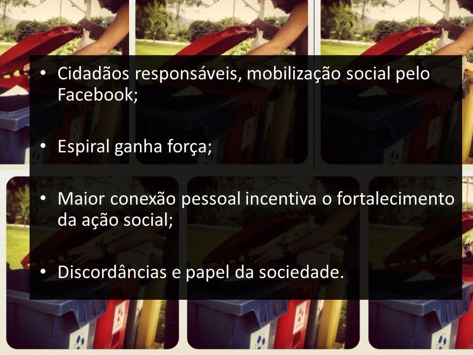 Cidadãos responsáveis, mobilização social pelo Facebook; Espiral ganha força; Maior conexão pessoal incentiva o fortalecimento da ação social; Discord