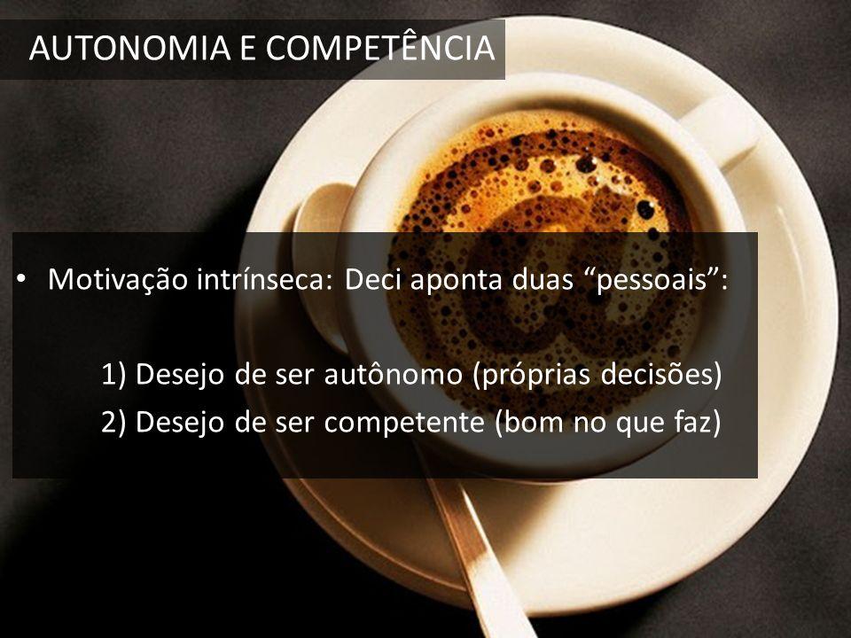 AUTONOMIA E COMPETÊNCIA Motivação intrínseca: Deci aponta duas pessoais: 1) Desejo de ser autônomo (próprias decisões) 2) Desejo de ser competente (bo