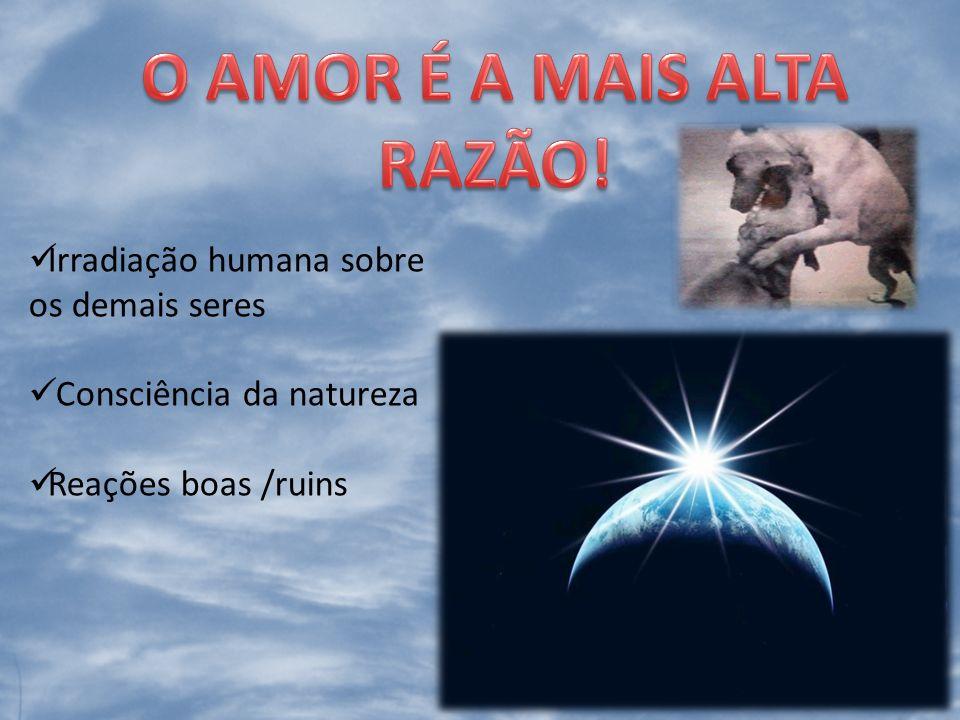Irradiação humana sobre os demais seres Consciência da natureza Reações boas /ruins
