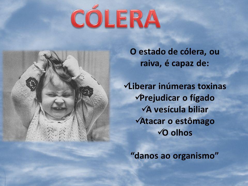 A cólera e o desespero, a crueldade e a intemperança : anulam quase todos os recursos de defesa (sistema imunológico) Caminho para a tuberculose e o câncer, a lepra e a ulceração