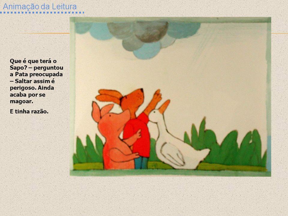 Animação da Leitura Que é que terá o Sapo? – perguntou a Pata preocupada – Saltar assim é perigoso. Ainda acaba por se magoar. E tinha razão.