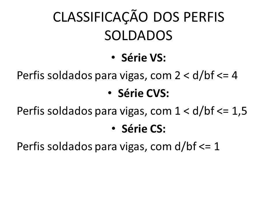 CLASSIFICAÇÃO DOS PERFIS SOLDADOS Série VS: Perfis soldados para vigas, com 2 < d/bf <= 4 Série CVS: Perfis soldados para vigas, com 1 < d/bf <= 1,5 Série CS: Perfis soldados para vigas, com d/bf <= 1
