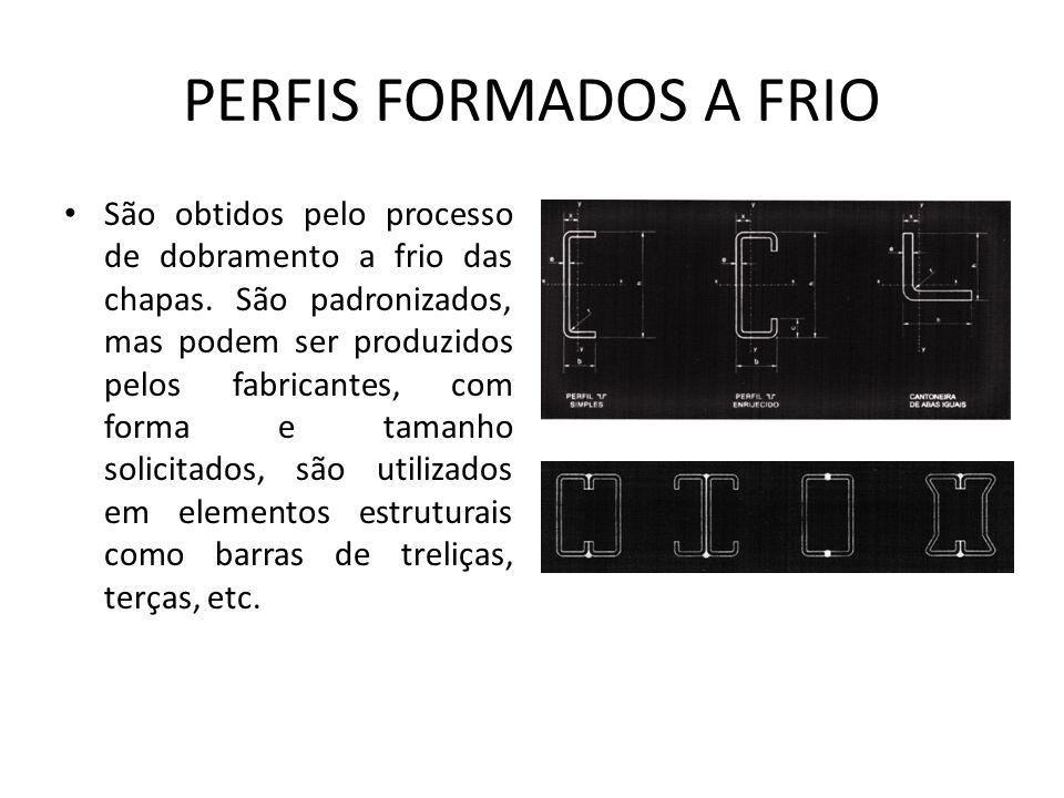 PERFIS FORMADOS A FRIO São obtidos pelo processo de dobramento a frio das chapas.