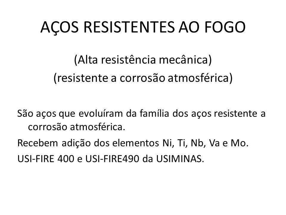 AÇOS RESISTENTES AO FOGO (Alta resistência mecânica) (resistente a corrosão atmosférica) São aços que evoluíram da família dos aços resistente a corrosão atmosférica.